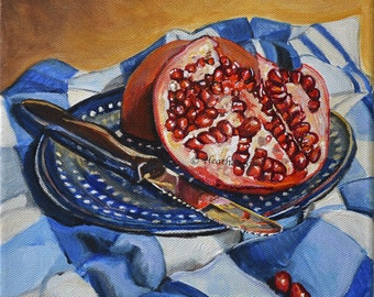 Polish Pottery fruit still life art print, blue and  yellow kitchen wall decor, pomegranate kitchen art print, kitchen artwork, Heather Sims