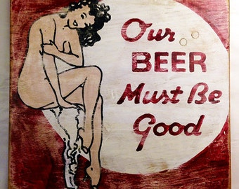 Vintage Matchbook Cover Art, Vintage-looking upcycled wood sign, hand made, hand painted, Beer sign