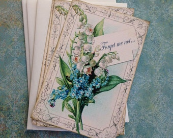 Lily of the Valley Notecards - Forget Me Not Notecards - Flat Notecards, blue, green - Set of 3
