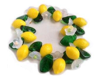 Lemon Blossom Mix Fruit, Flower and Leaf Glass Beads