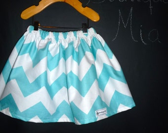Ready To MAIL - Children Skirt - Aqua and White Chevron - Will fit Size  2T up to 5T - by Boutique Mia