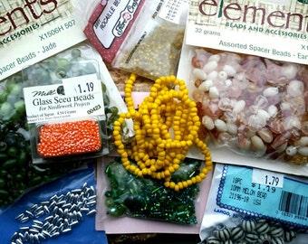 SALE Destash lot of various beads.  Green, yellow, earth tones, glass, orange, random cheap package of fun