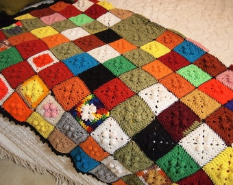 Granny Square Crochet Afghan Throw in fun Bright Colors 50x60 inches Vintage