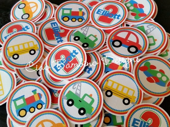 On the Move Birthday Party Minis / Mini Tags to make Cupcake Toppers, for Table Confetti and More / Set of 75 Personalized with Name & Age