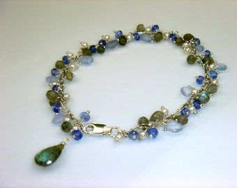 Labradorite, Chalcedony, Tanzanite and Pearl Bracelet.