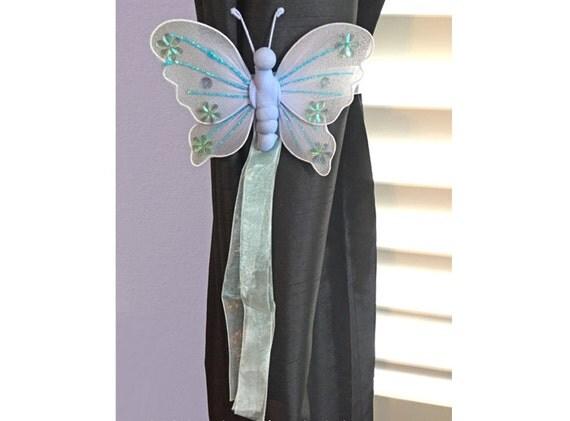 Butterfly Tie Backs Blue Nylon Butterflies Tieback Decor Window Curtains Holder Holders Kids