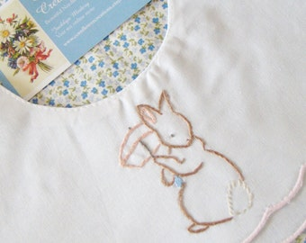 Hand Embroidered Scalloped Linen Bib - Parasol Bunny
