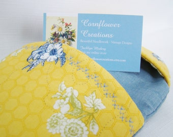 Yellow and Blue Flowers - Oval Oven Mitt