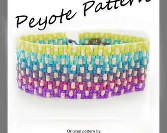 Greek Key Ombre Peyote Pattern Bracelet - For Personal Use Only PDF Tutorial
