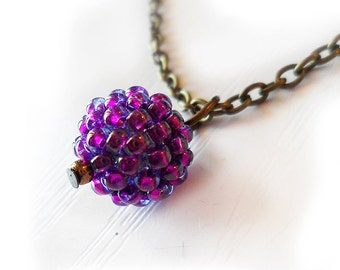 Purple Glass Bead Necklace - Sweet Berry Necklace - Amethyst Small Bead Necklace