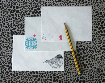 Hand Printed Recycled Map Paper Envelopes - Mixed Prints - Pack of 10