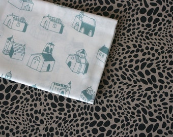 Village Church Fabric - Turquoise- Half Yard