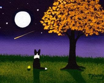 Border Collie dog Folk Art print by Todd Young AUTUMN TWILIGHT