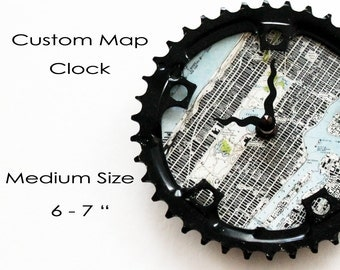 Custom Map Bicycle Clock -  Medium size  |  Topographic Map Bike Gear Clock