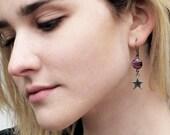 amethyst earrings, February birthstone earrings, purple hydroquartz earrings, star jewelry, sterling silver star earrings, celestial jewelry