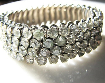 Vintage Expansion Bracelet Prong Set Rhinestone