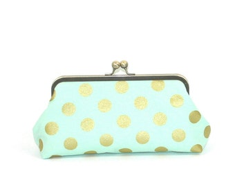 Mint Gold Polka Dot Bridesmaid Clutch Purse, Mint Wedding Clutch