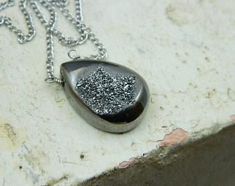 Druzy Necklace-Druzy Quartz Necklace-Pear Shaped Druzy Necklace Gemstone Necklace- Charcoal Druzy