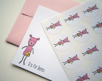 B is for Bear Personalized Stationery or Thank You Cards Set with Stickers