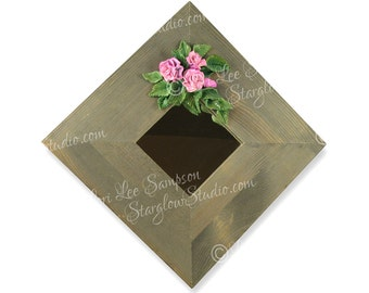 Digital Download Natural Wood Mirror | Pink Roses Clipart Photo | Stock Photo Polymer Clay | Wild Roses Scrapbooking Supply