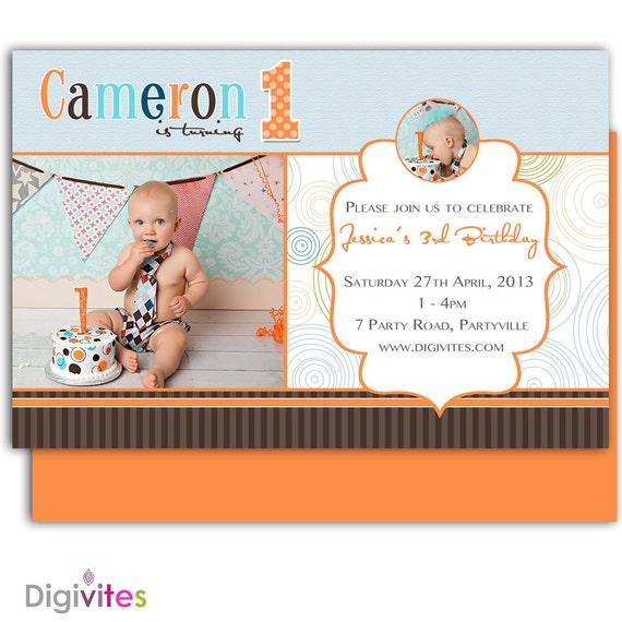 baby boy einladung / 1. geburtstag junge einladung junge, Einladungsentwurf