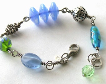 Pierced Balinese Silver Jewelry - Lamp work Bead Bracelet - Lamp work and Blown Glass Beads - Peridot Crystal - Sterling Silver Bracelet