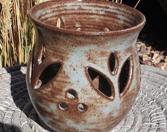 Tealight Luminary withTulips - Handmade pottery