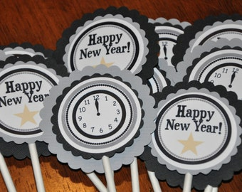New Years Eve Cupcake Toppers. NYE. 2017. New Years. Cupcake Picks. Black. Grey. Gray. Set of 12