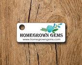 """160 price tags - 1.25"""" Rectangles  - Blue Flowers Roses - Customized Small Price Tags Jewelry Hang Tags Labels"""