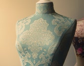 Display Mannequin Classic Robins Egg Blue Damask Dressform  - Clare
