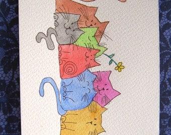 Seven Cat friends in the Garden Watercolour Original art