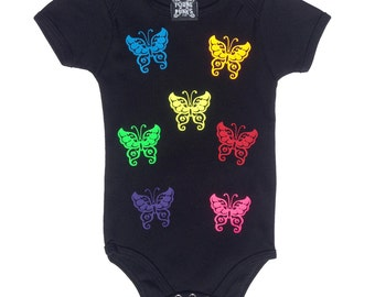 Butterflies with peace signs - Kids Onesie - 3 sizes available Handmade punk cool funny clever rock and roll black rainbow fluorescent