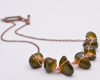 Free Form Green Glass Nuggets Wire Wrapped Necklace Copper Necklace Green Necklace Statement Necklace Organic Necklace Chunky Necklace