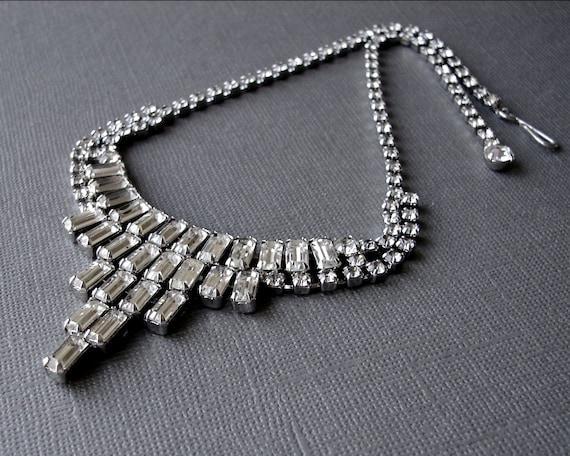 Vintage Rhinestone Necklace 1950s Bib Choker Wedding Jewelry Bridal Accessory Formal Ballroom Pageant Downton Abbey Great Gatsby Prom Reign