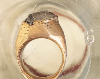 SOLD Crystal Visions OOAK Herkimer Diamond Bronze ring size 6