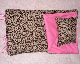Handmade Sleeping Bag Pink Leopard fits 18 inch Doll Like American Girl