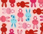 Urban Zoologie, Bunnies on Pink Blush, by Ann Kelle for Robert Kaufman - 1/2 Yard