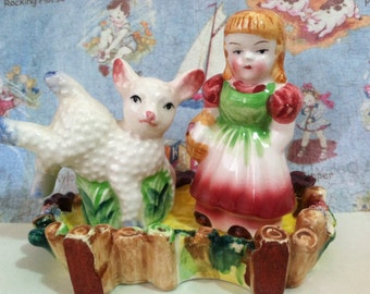 VERY RARE Vintage Mary Had a Little Lamb Salt and Pepper Shakers With Stand Japan Antique Lusterware Collectibles or Cake Toppers