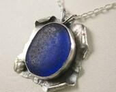 Cobalt Blue Sea Glass Pendant Cobalt Blue Sea Glass Necklace Sea Glass Jewelry - N-305
