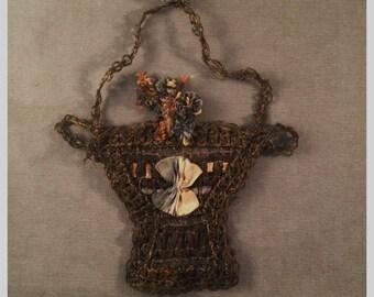 Large 1920s Metallic Bullion Woven, Silk Ribbonwork Basket - Bronze Tones, Flowers, Applique