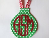 Green Polka Dot Ornament with Red Glitter Circle Monogram