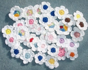 40 handmade cotton thread crochet applique flowers with white petals -- 1747