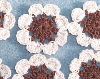 12 handmade brown and ecru cotton thread crochet applique flowers --  1948