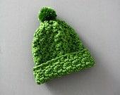 Infant Green Crochet Toboggan Baby Hat Gender Neutral Rolled Brim Beanie 6-18 months