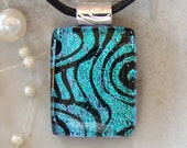 Dichroic Pendant, Glass Jewelry, Aqua, Black, Necklace Included