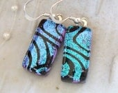 Dichroic Earrings, Glass, Fused Jewelry, Aqua, Black, Dangle, Sterling Silver