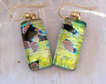 Fused Dichroic Glass Earrings, Fused Jewelry, Dangle, Gold Filled