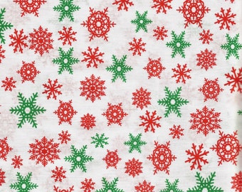 Christmas Snow Flakes All Over Fabric 100% Cotton Sold By The Yard