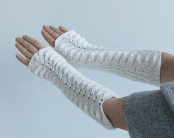 Free shipping, gift for her, White long Fingerless Gloves---knitted gloves,  fingerless gloves