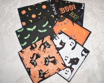 Clearance item ! Halloween Set of Six Coasters Black Cats Ghosts Bats Pumpkins Moons New Handmade Was 6.00 Now 3.00